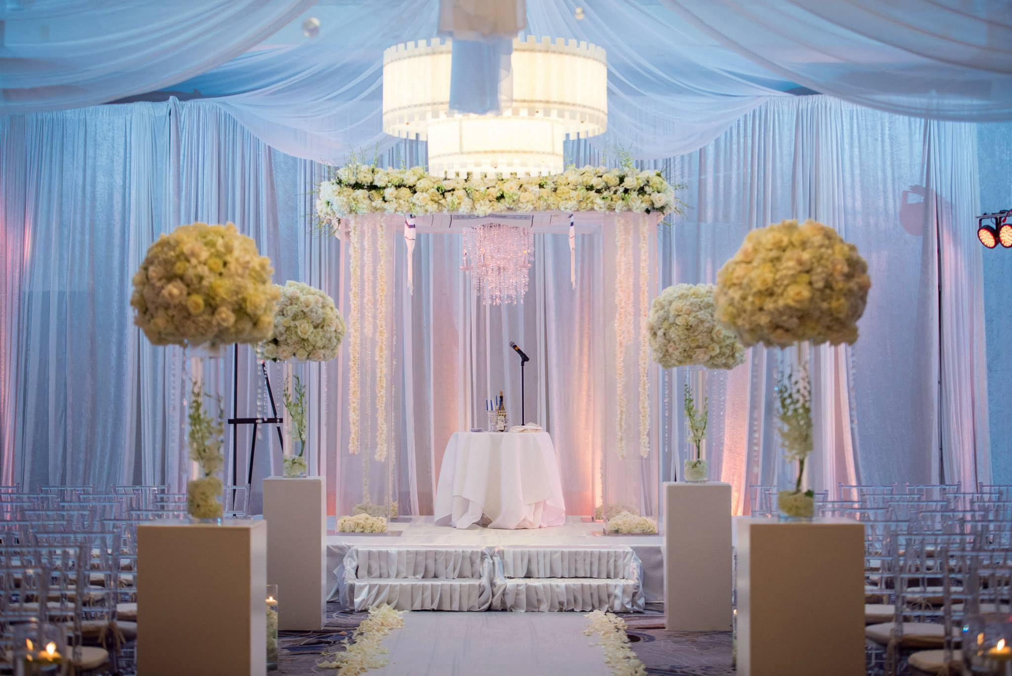 the-polo-club-wedding-boca-raton-palm-beach-velvet-white-draping-chuppah-with-chandelier
