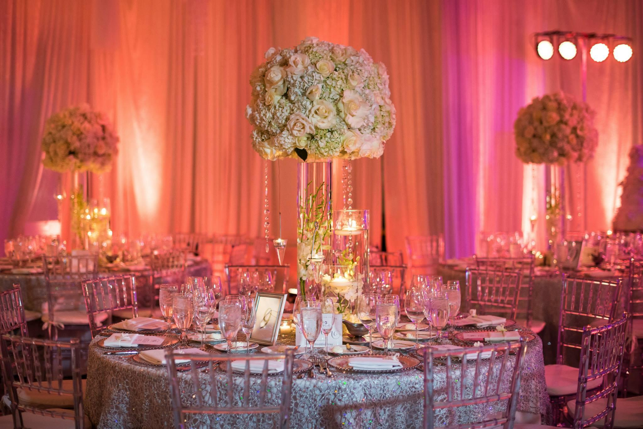 the-boca-raton-polo-club-wedding-reception-amber-uplighting-winter-wedding-artist-ben-keys-boca-raton-luxe-florals