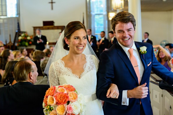 new-castle-church-wedding-bride-and-groom-coral-flowers-lace-long-sleeve-wedding-gown-wed-on-canvas-krista-photography-boston-wedding-painter