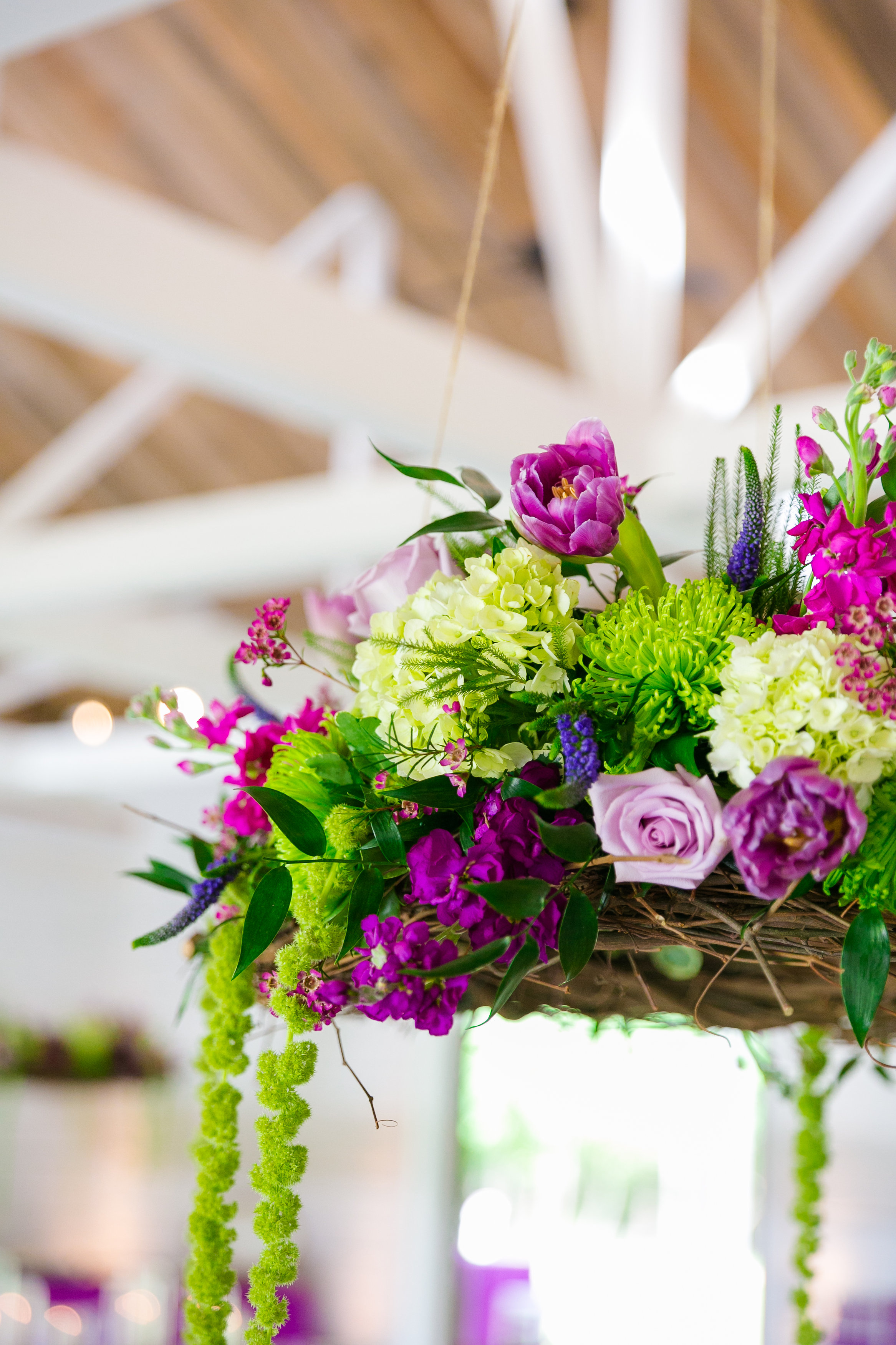sweetgrass-social-hanging-floral-chandelier-fuchsia-and-green-wedding-flowers-barn-wedding-wildberry-farm