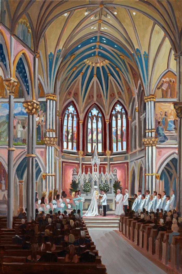 Live Wedding Painting | Cathedral of St. John the Baptist, Savannah, GA