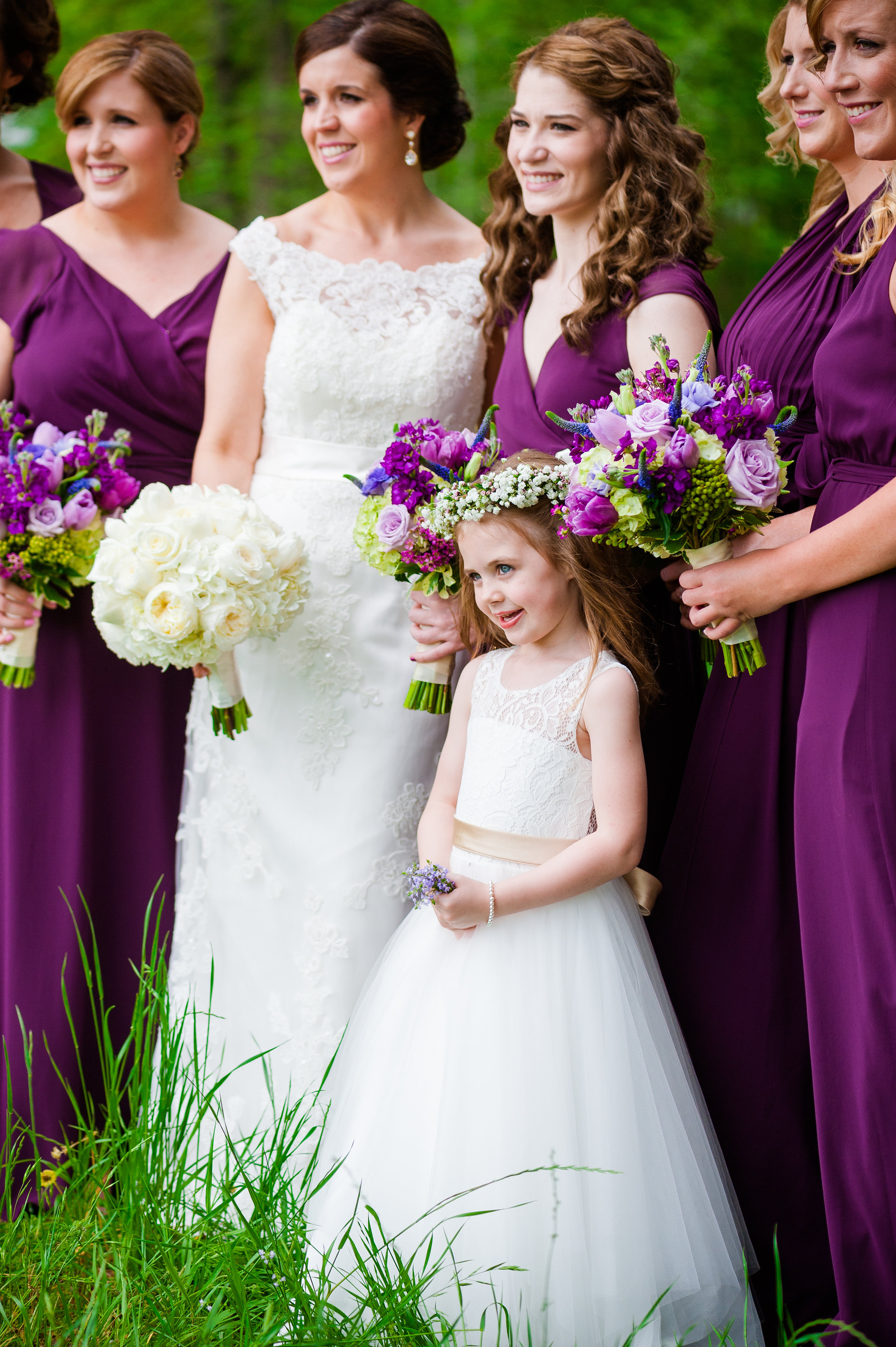 fuschia-plum-bridesmaids-dresses-farm-wedding
