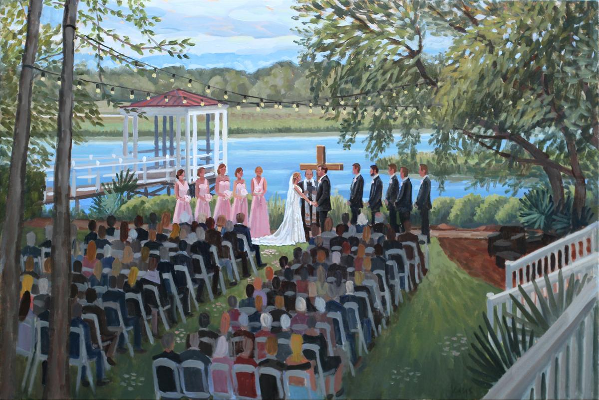 Live Wedding Painting at Creek Club I'On, Charleston, SC