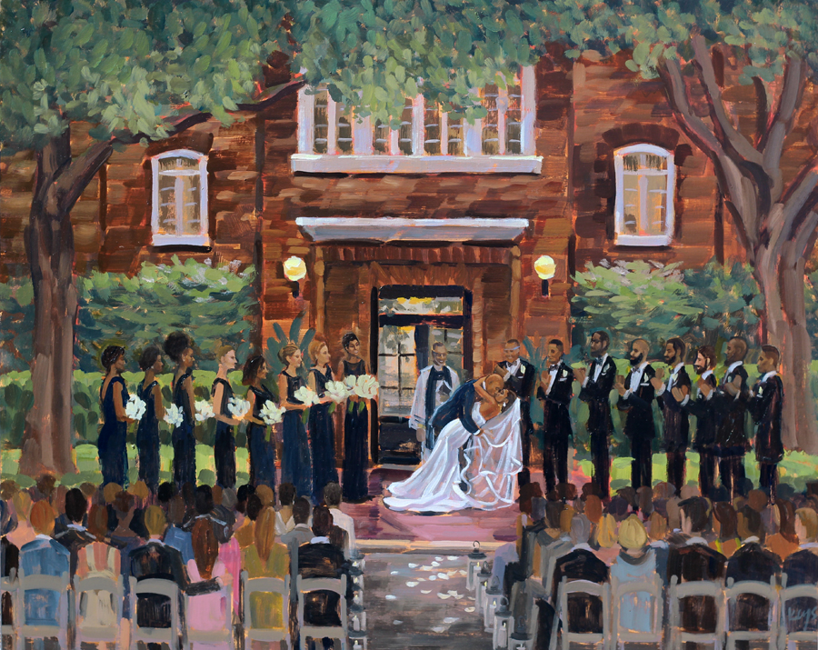 Live Wedding Painting at Charleston's Historic Rice Mill Building