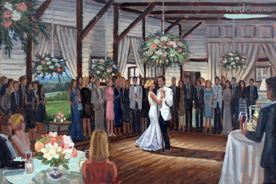24 x 36 in. Oil on Canvas by Live Wedding Painter Ben Keys | Pippin Hill Farm and Vineyards