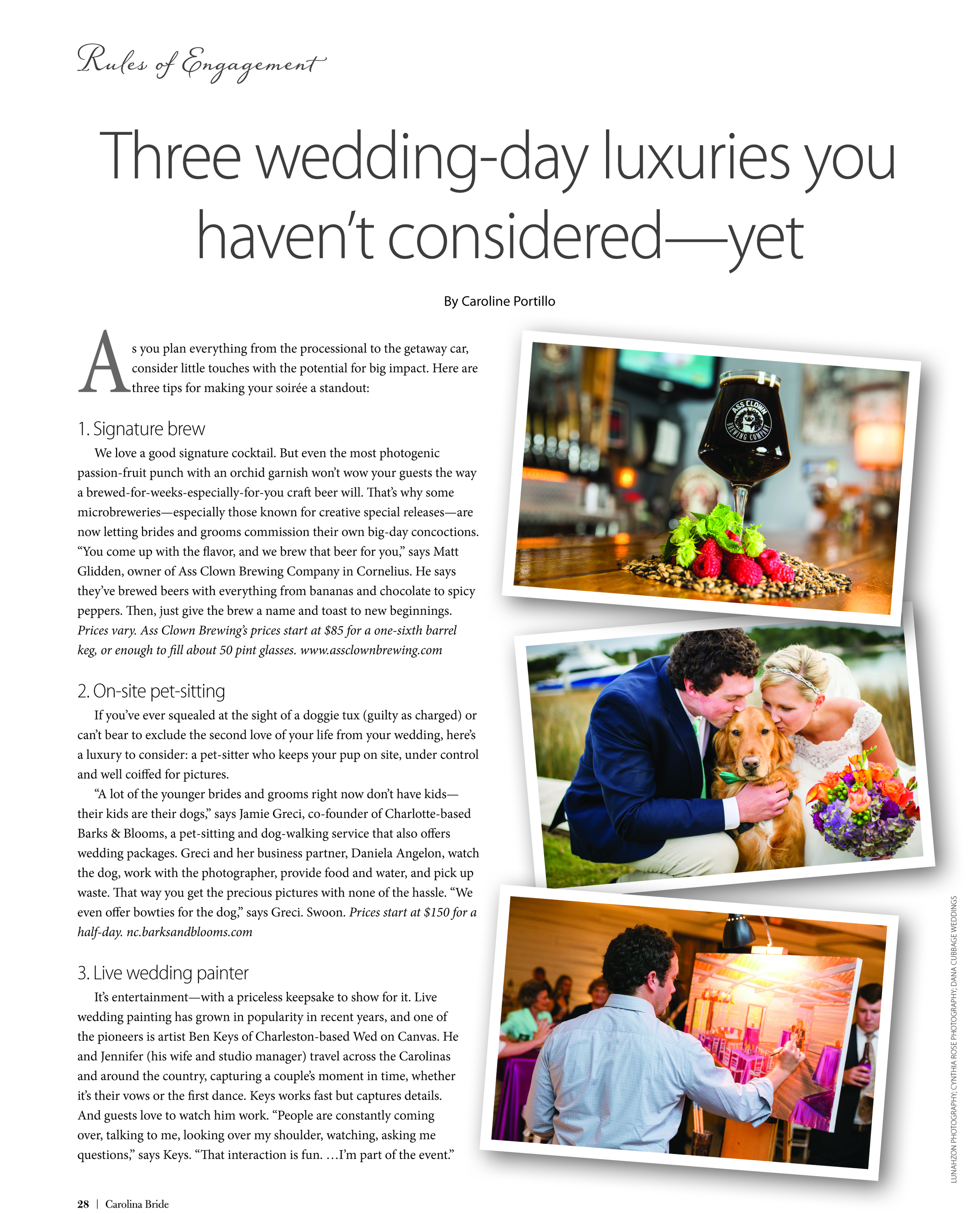 Live Wedding Painter of Wed on Canvas featured in Carolina Bride Magazine
