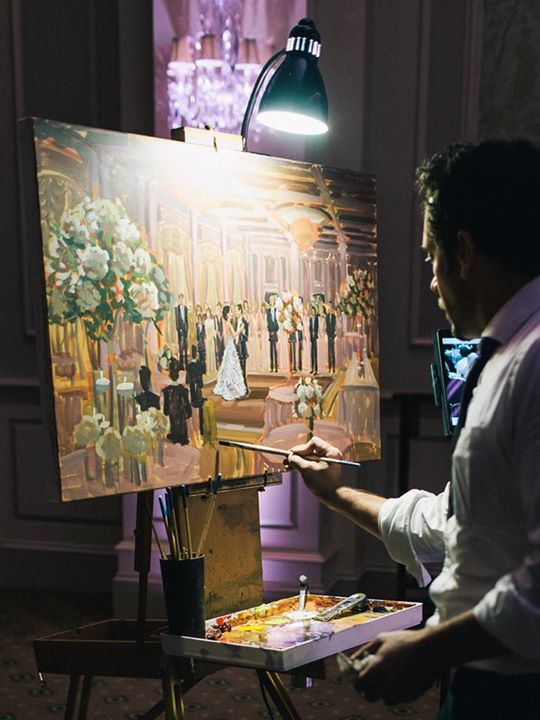 Ben Keys, wedding artist of Wed on Canvas, painting live during Maggie + Glenn's first dance.