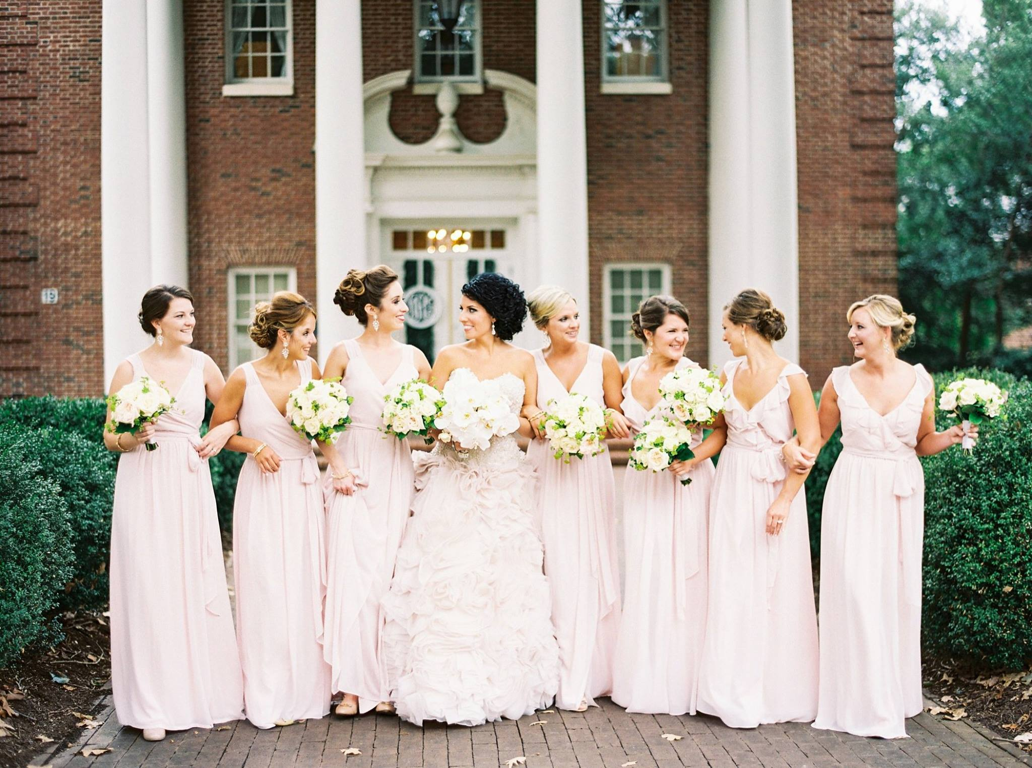 Blush-bridesmaids-dresses-with-blush-bridal-gown-meredith-college-raleigh