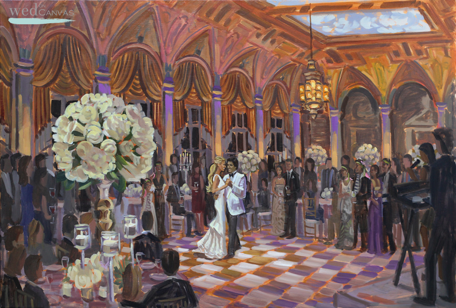 Live Wedding Painter, Ben Keys, captures the Mediterranean Ballroom at The Breakers.