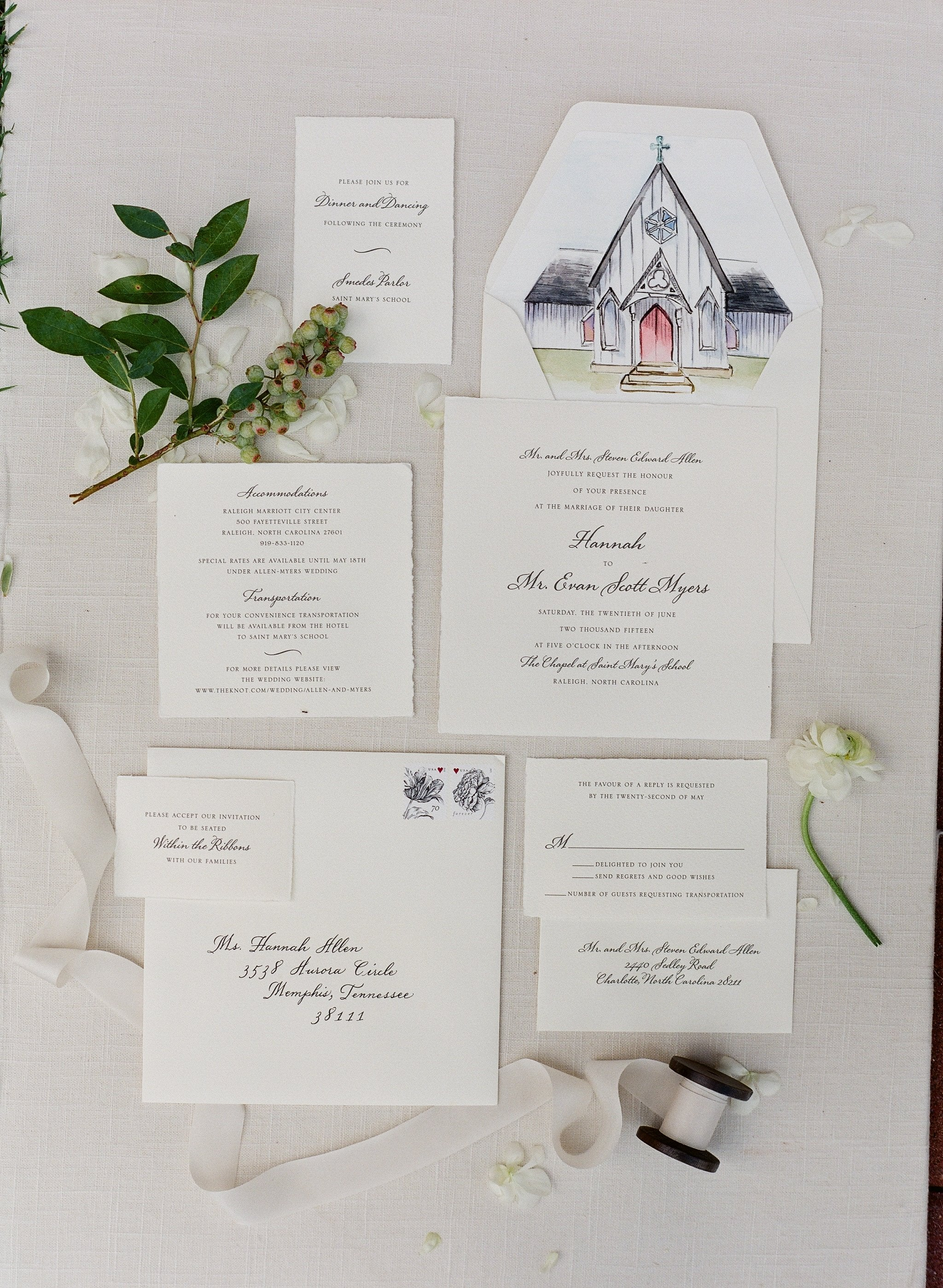 Hannah designed the sketch featured on her wedding invitation suite of Saint Mary's Chapel.