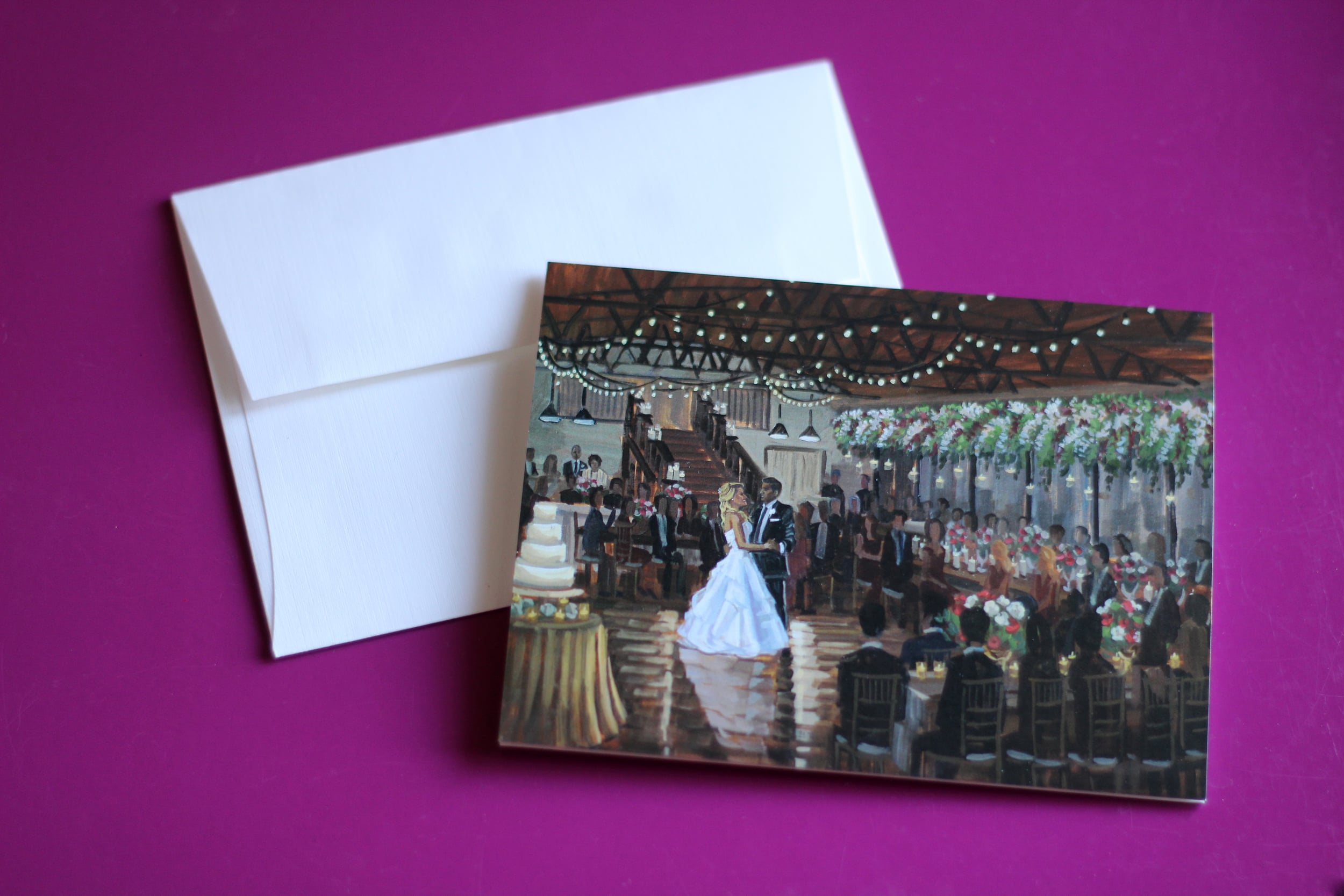 Lauren + Andrew's stationery featuring their live wedding painting at Atlanta's Summerour Studio.