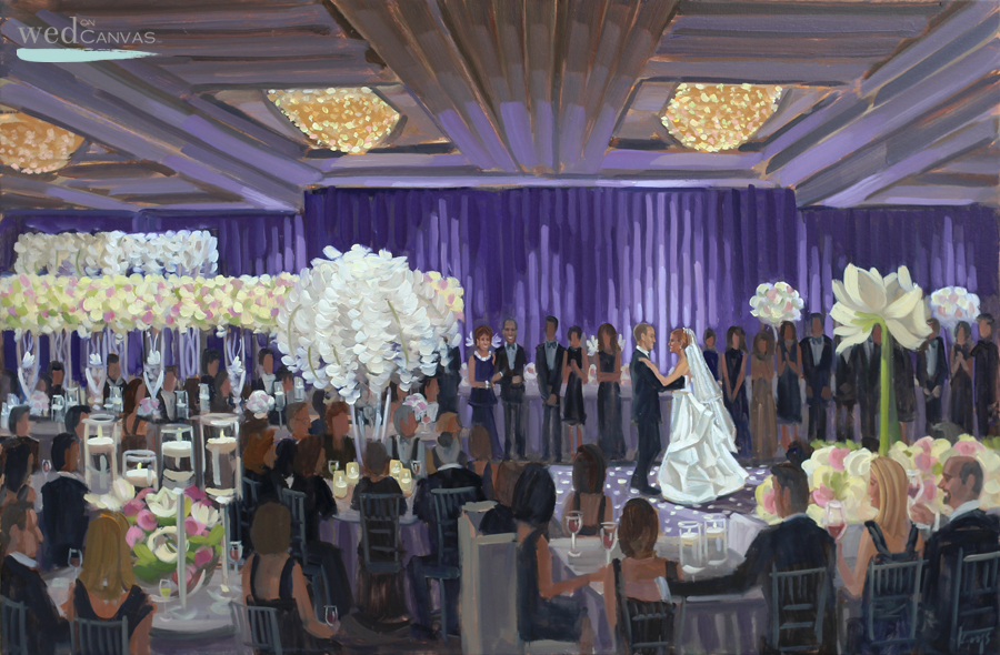 Allie + Andrew's first dance captured by live wedding painter, Ben Keys, of Wed on Canvas.