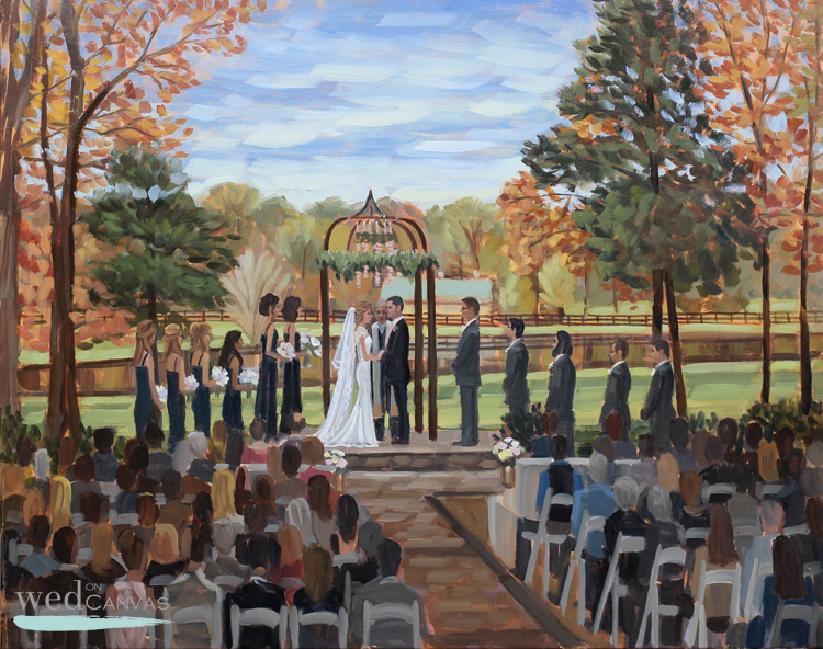 Ceremony at Morning Glory Farm in Monroe, NC captured in this live wedding painting.