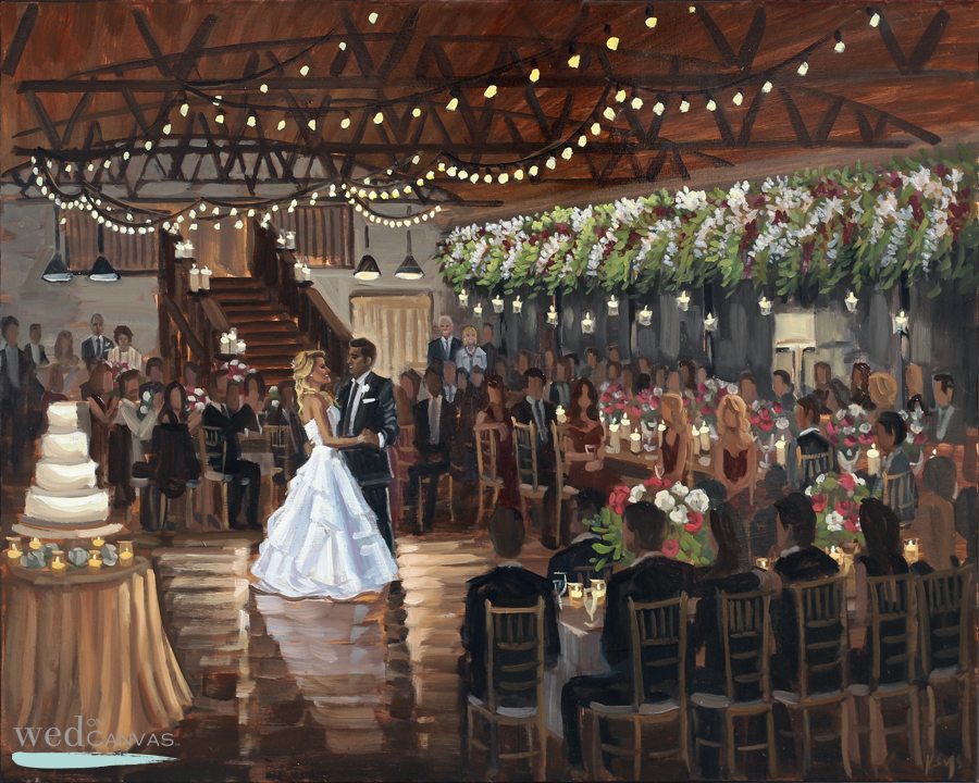 Lauren + Andrew's first dance captured by live wedding painter Ben Keys of Wed on Canvas.