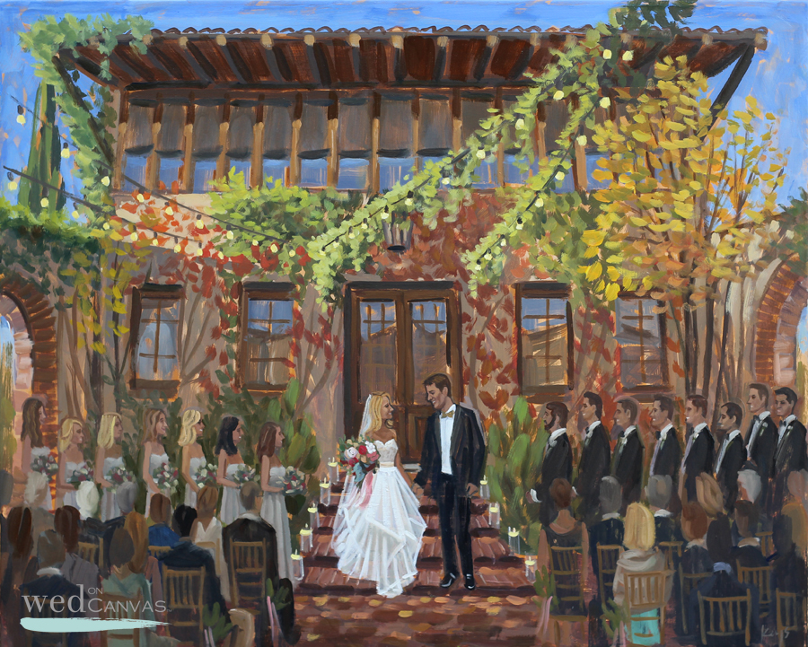 Live Wedding Painter captures Kelsey + Eric's first moment as Husband + Wife!