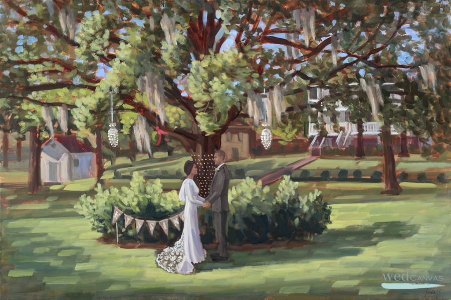 Brookes and Donnie's first look captured by live wedding painter, Ben Keys of Wed on Canvas.