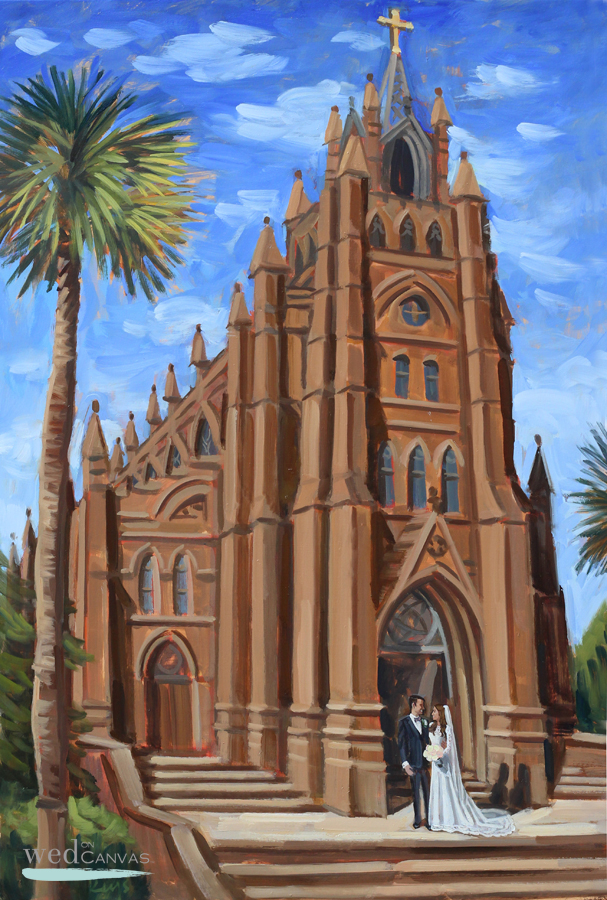 Live Wedding Painting created at downtown Charleston's Cathedral of St. John the Baptist