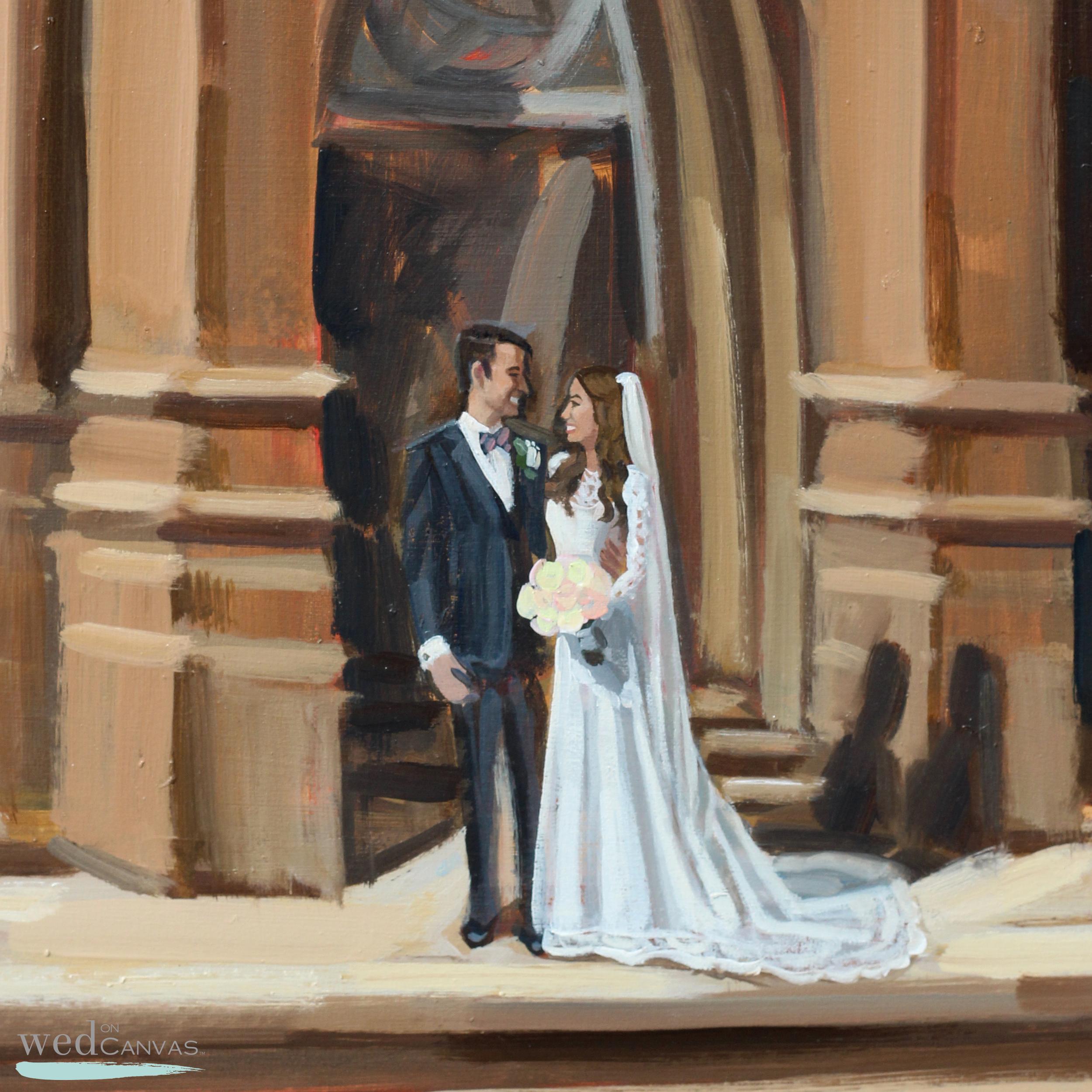 Close up of Erin + jordan's live wedding painting.