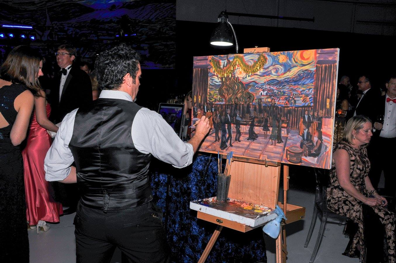 Ben Keys, capturing the NHRMC Founder's Gala in a live event painting.