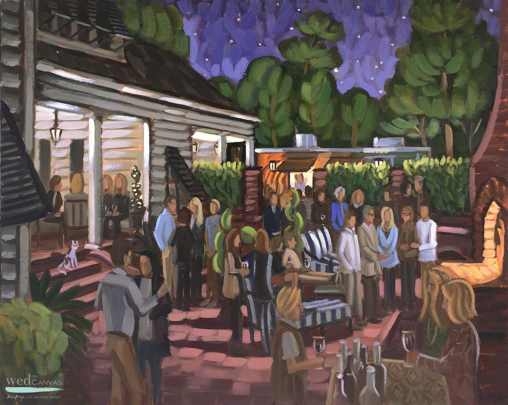Live event artist, Ben Keys, captures Paula's 50th Birthday party in Wrightsville Beach, NC