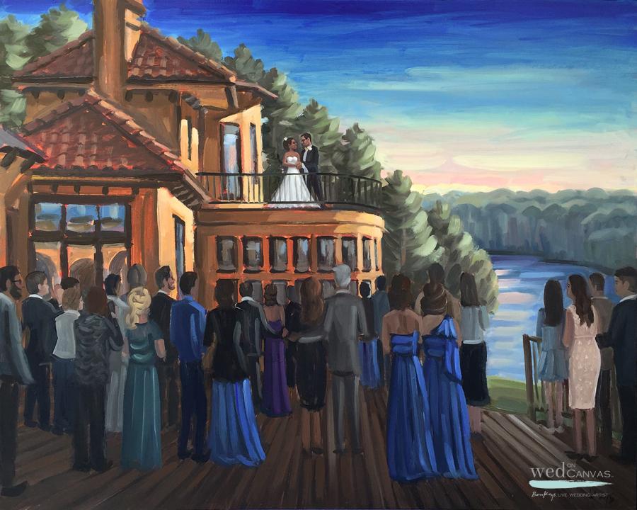 Live wedding painter, Ben Keys, captures a first dance at North Carolina's Bella Collina Mansion.