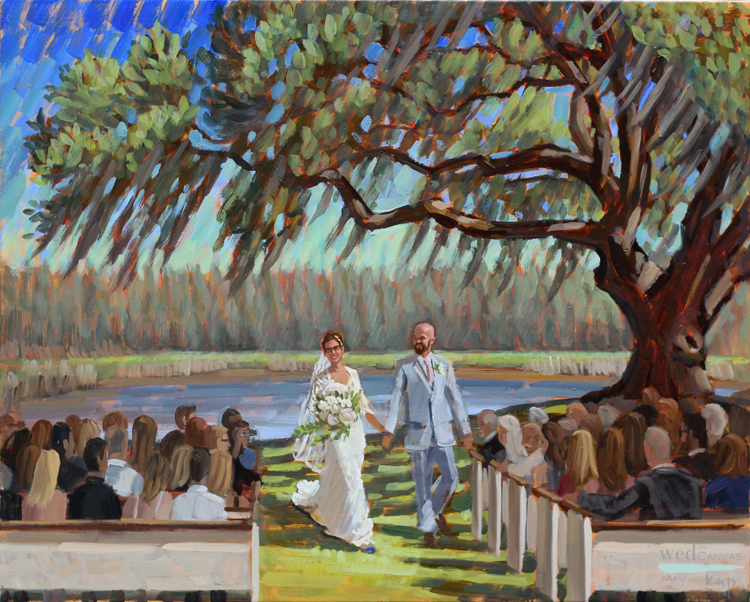Live Wedding Painter, Ben Keys, captured R+T's ceremony at Charleston's gorgeous Wingate Plantation.
