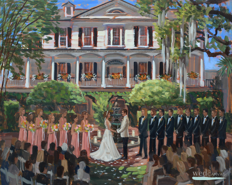 Maggie + Kevin's downtown Charleston wedding ceremony captured in this live wedding painting by Ben Keys.