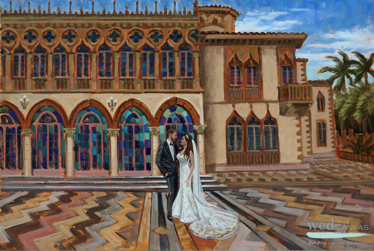 Live wedding painter, Ben Keys, of Wed on Canvas captured a First Look moment at Sarasota's Ringling Brothers' Ca d'Zan Mansion.