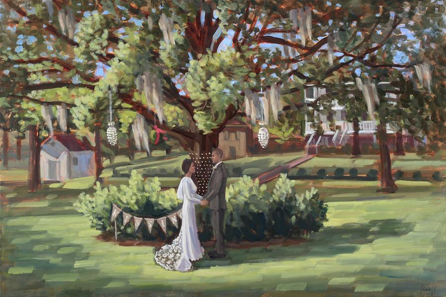 Live Wedding Painting | Poplar Grove Plantation, Wilmington, NC