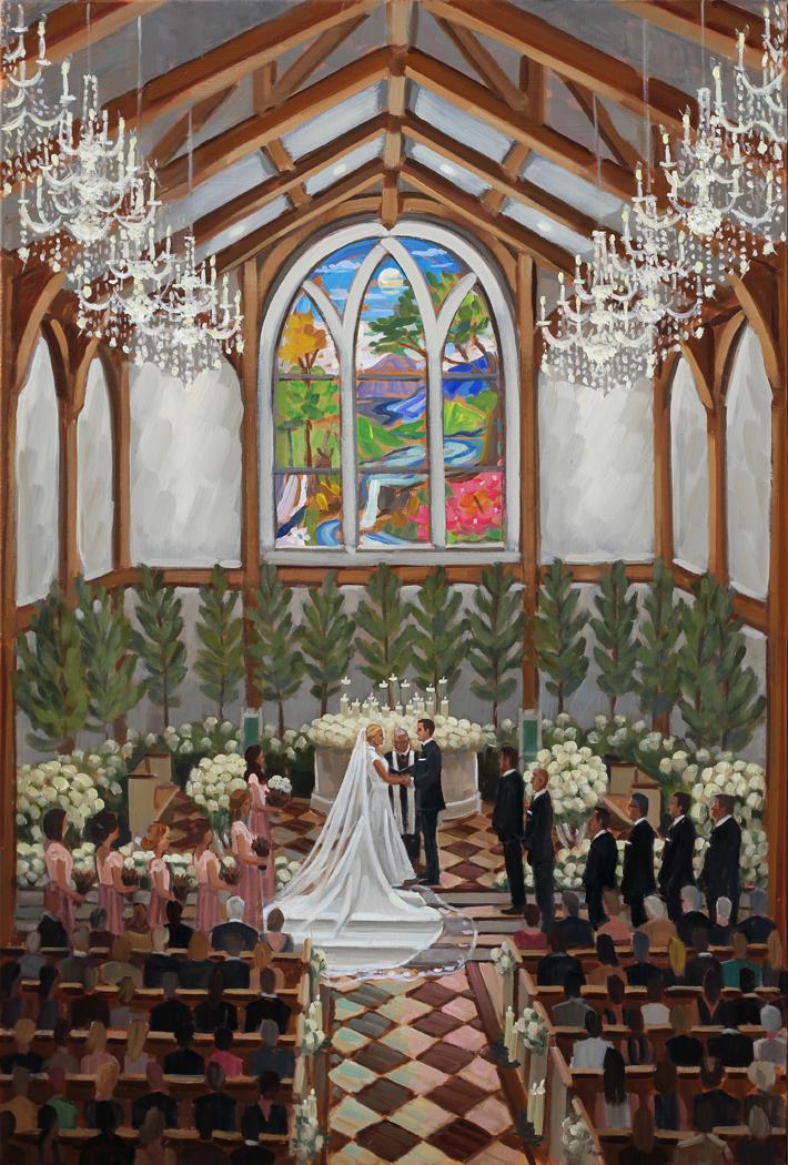 Live Wedding Artist, Ben Keys, captured Jill + Adam's gorgeous wedding day at The Greenbrier's brand new chapel.