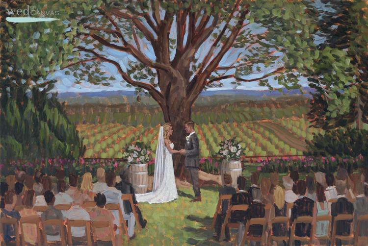 Live wedding painter, Ben Keys, captured Meghan + Ben's ceremony overlooking the gorgeous landscape at Blenheim Vineyards.