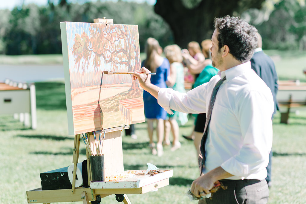 Ben Keys, capturing R+T's ceremony with a live wedding painting.