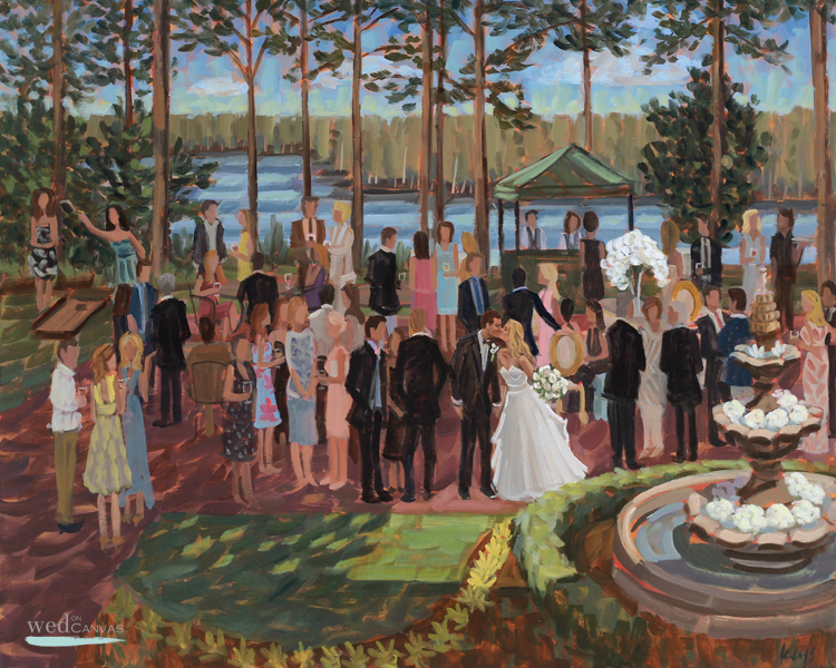 Ginny + Willie commissioned live wedding painter, Ben Keys, to capture their cocktail hour during their reception at Pinehurst's Country Club of North Carolina.