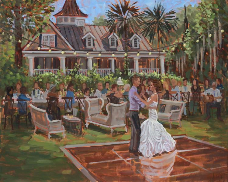 Live Wedding Painting | Magnolia Plantation, Charleston, SC