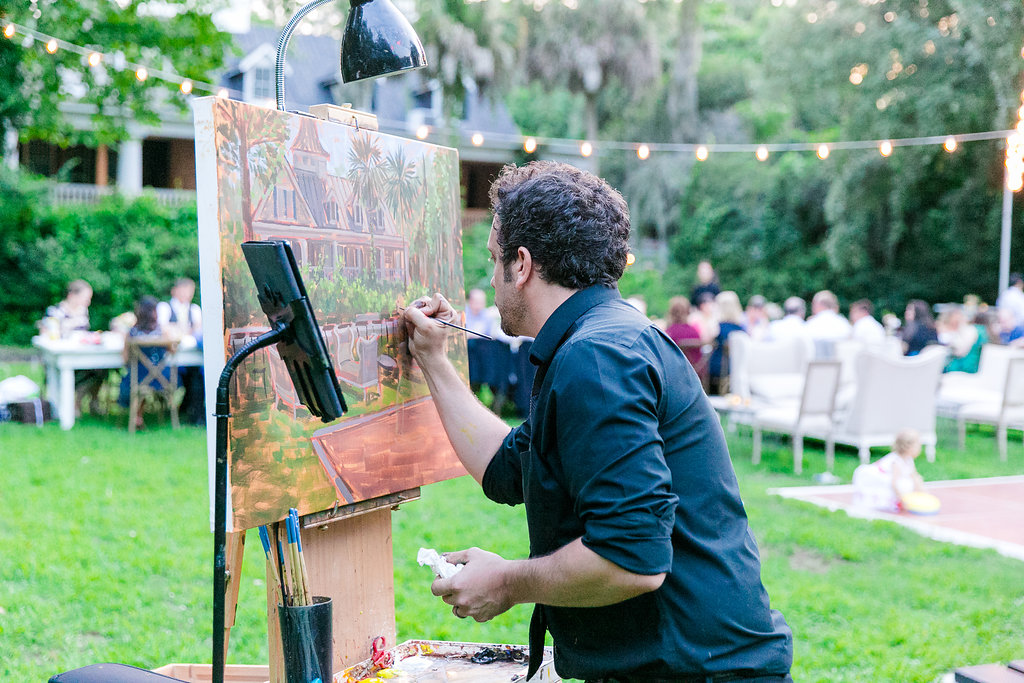 Brittany + Jonathan commissioned Ben to capture their first dance with a live wedding painting.