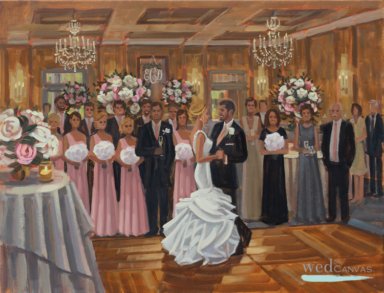 Live Wedding Painter, Ben Keys, captured Elizabeth + Dylan's first dance at Cape Fear Country Club in Wilmington, NC.