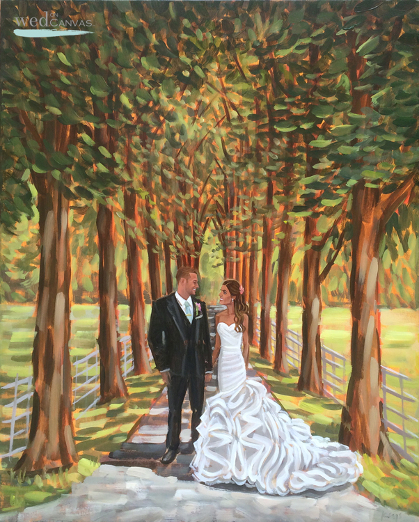 Chloe + Stuart commissioned Ben to travel to England to capture their wedding day with a live painting.