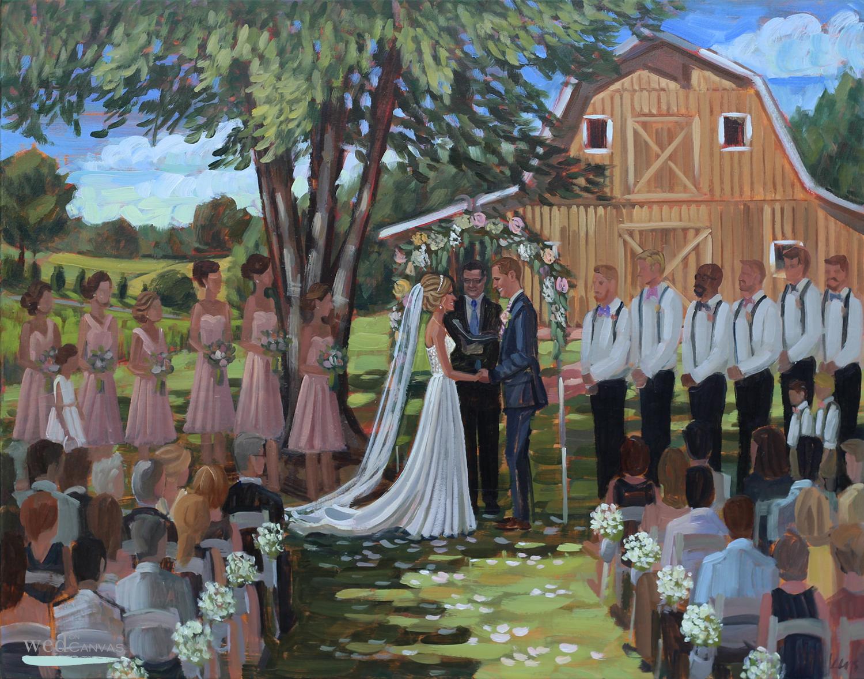 Live Wedding Painter, Ben Keys, captured Danielle + Bradley's wedding day at Fairview Farms just outside of Richmond, VA.