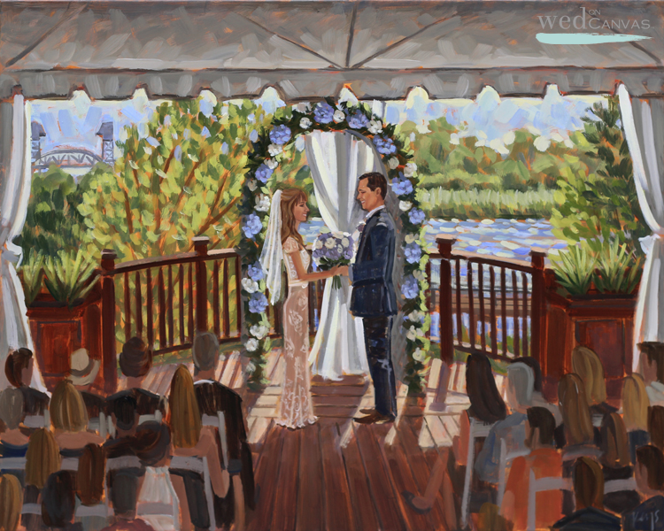 Live Wedding Painter, Ben Keys, captured Amber + Kevery's wedding ceremony held at 128 South in Wilmington, NC.
