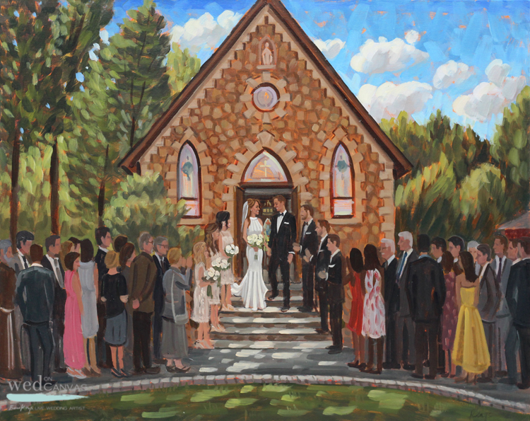 Live Wedding Painter, Ben Keys, captured K+G's grand exit after their ceremony in Warren, NJ at Our Lady of the Mount Catholic Church.