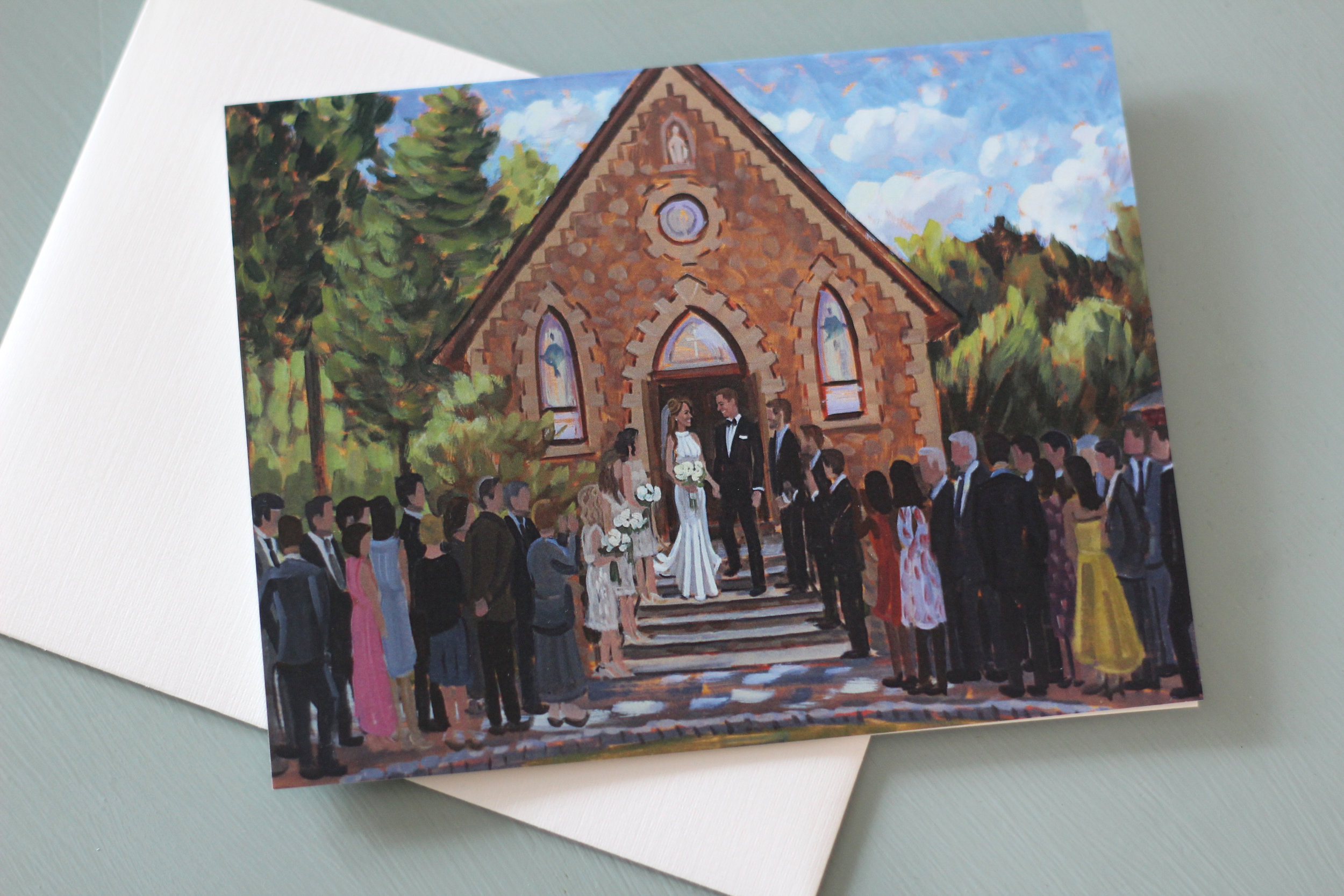 Kara + Greg's live wedding painting looks gorgeous on their set of custom stationery!