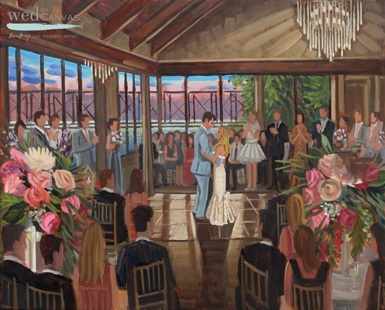 Live Wedding Painter, Ben Keys was commissioned to capture C+N's first dance during their reception at the Lambertville Station Inn.