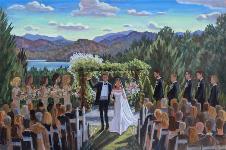 Live Wedding Painting | Sawyer Family Farmstead, Cashiers, NC