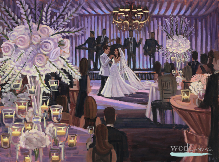 Live wedding painter, Ben Keys, captured Kim + Chris' gorgeous first dance during their reception at Jacksonville Country Club in Jacksonville, NC.