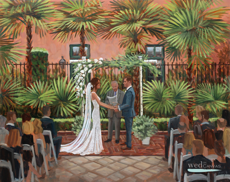 Live wedding painter, Ben Keys, captured Jen + Jack's ceremony hosted at downtown Charleston's Planter's Inn.