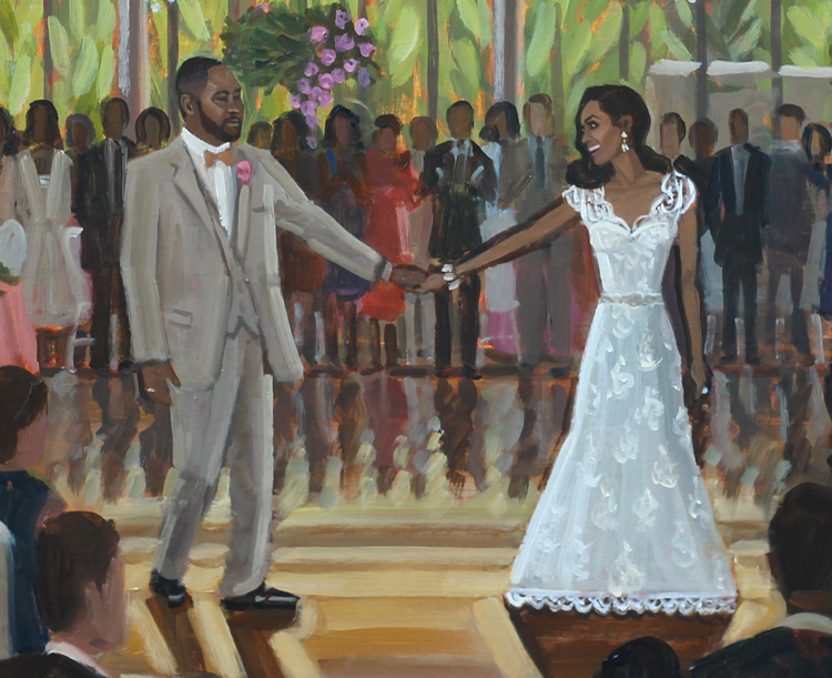 Here's a close up to share more details of C+A's live wedding painting!