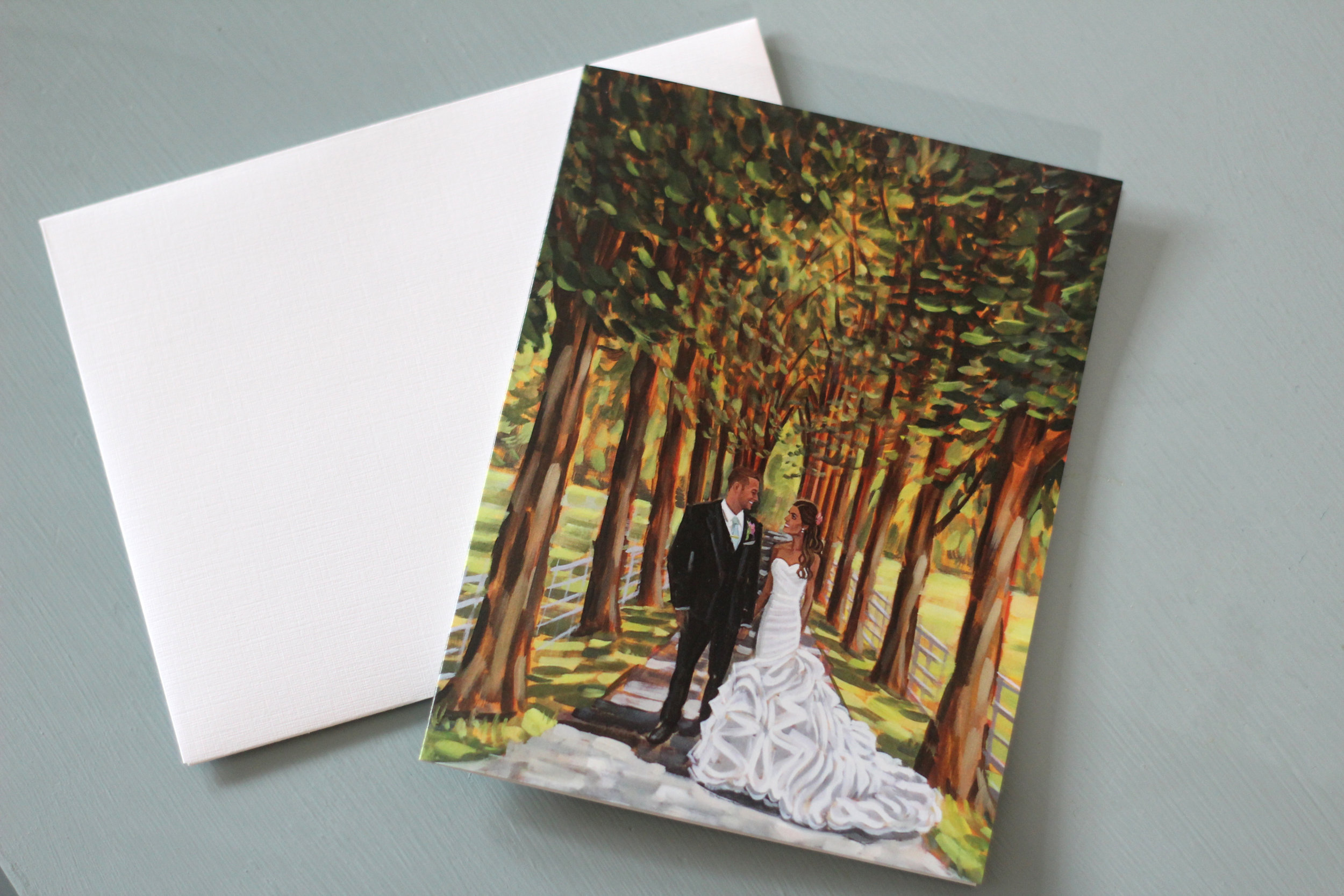 Chloe + Stu's live wedding painting looks gorgeous on their set of custom stationery!