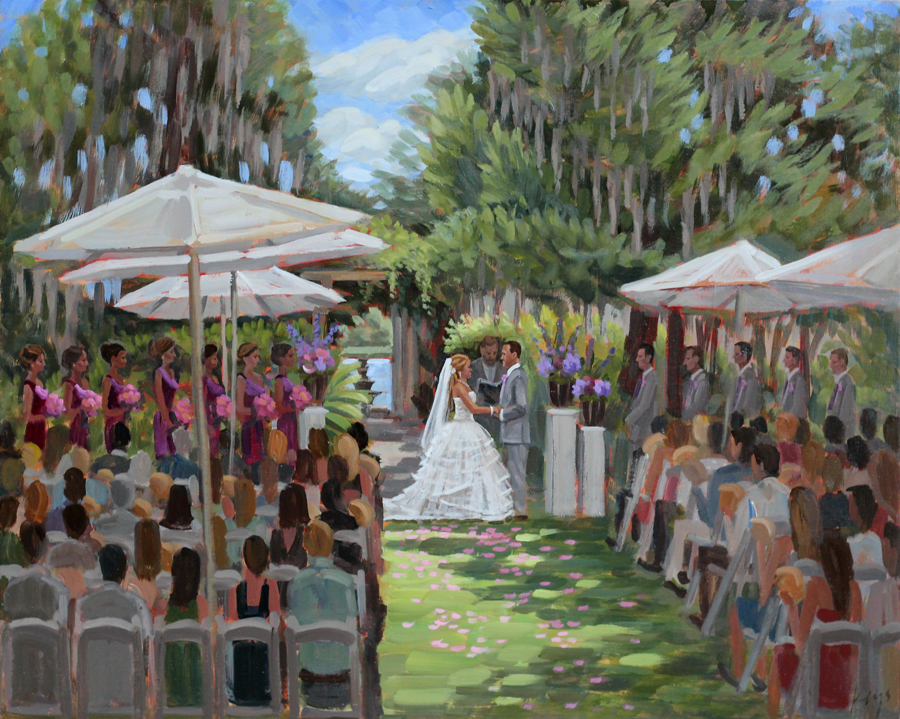 Live Wedding Painting | Airlie Gardens, Wilmington, NC