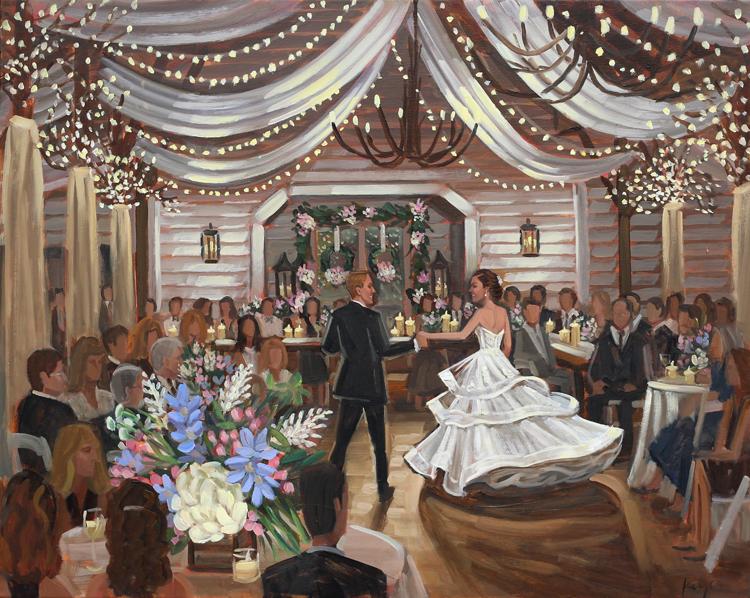 Live Wedding Painting | Fearrington Farm, Chapel Hill, NC