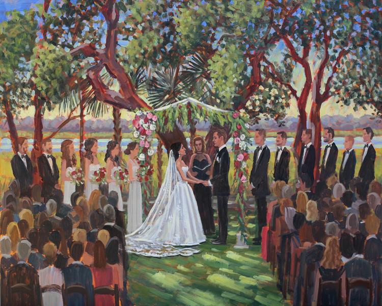 Live Wedding Painting | Lowndes Grove Plantation, Charleston, SC